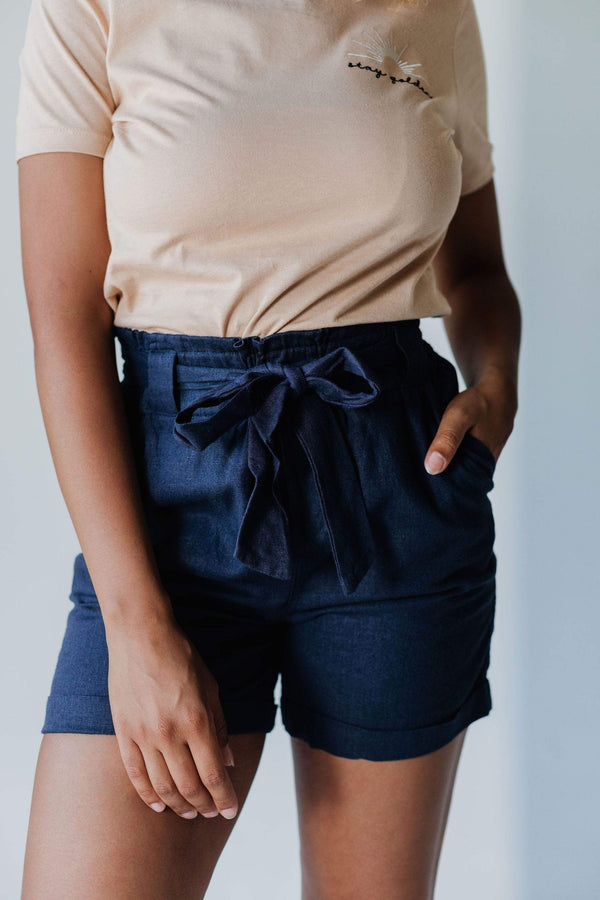 Bottoms Renee Paper Bag Waist Shorts Navy