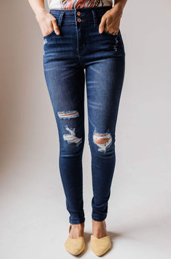 Saylor High Rise Distressed Skinny Jean