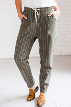 Bottoms Wynn Pinstriped Pants Olive