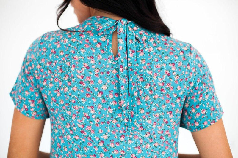 Briella Floral Top Blue