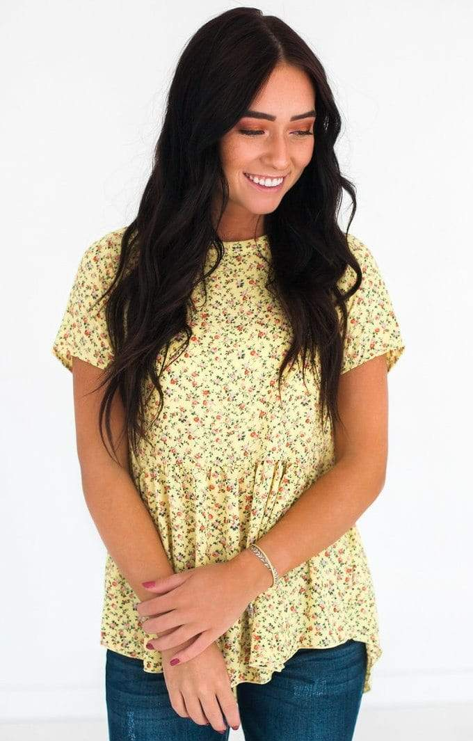 Briella Floral Top Yellow Small