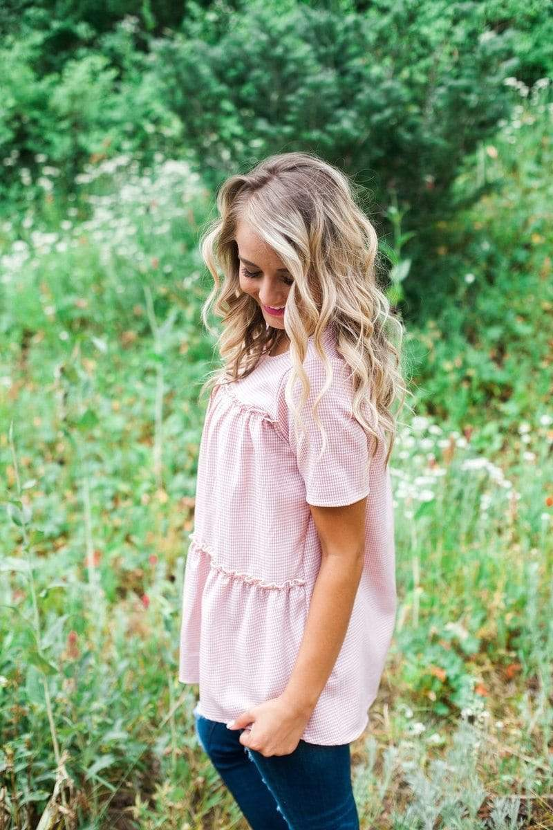 Cibrina Gingham Top Blush