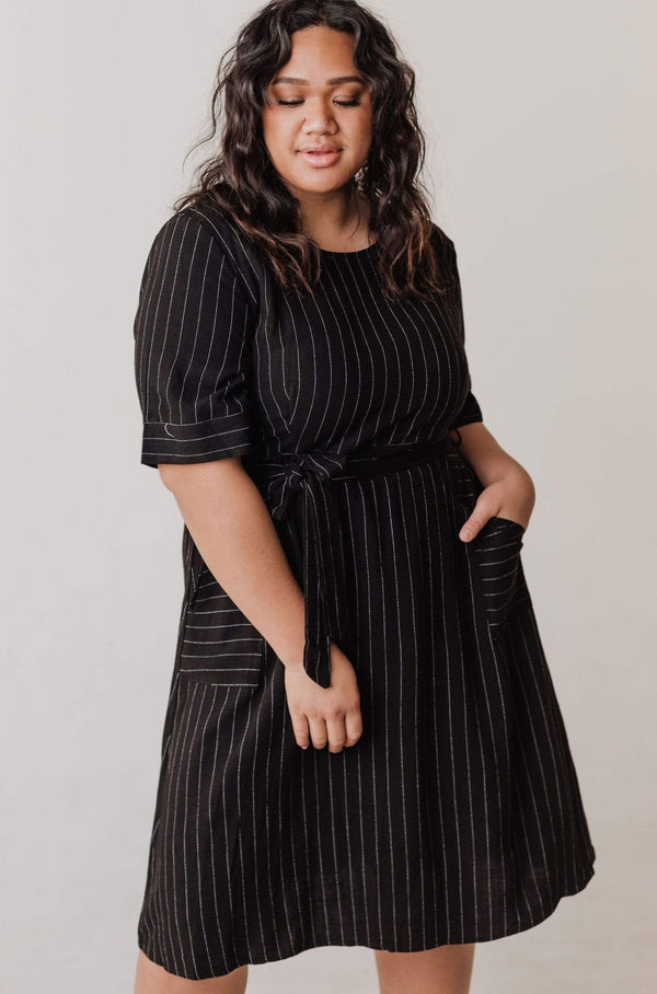 Dresses Ada Pinstripe Dress Black PLUS