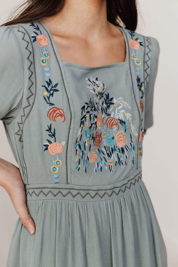 Dresses Amira Embroidered Dress Sage