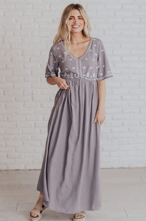 Dresses Beatrice Embroidered Maxi Dress Grey