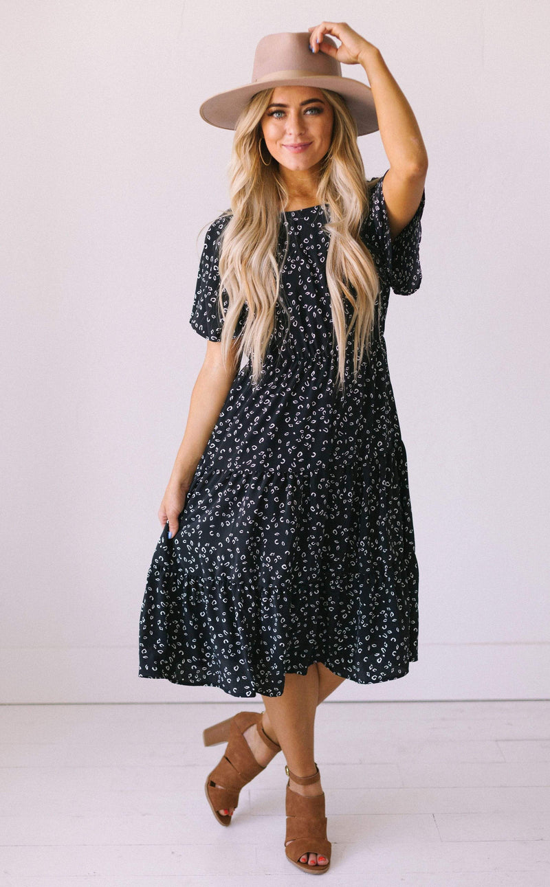 Dresses Becca Leopard Print Dress Black