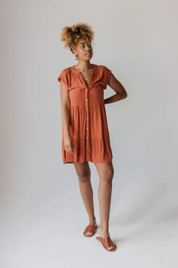 Dresses Bowie Button Dress Rust
