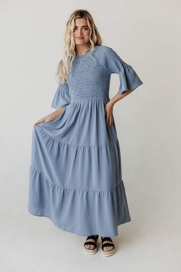 Dresses Brenda Smocked Bodice Tiered Maxi Dress Dusty Blue
