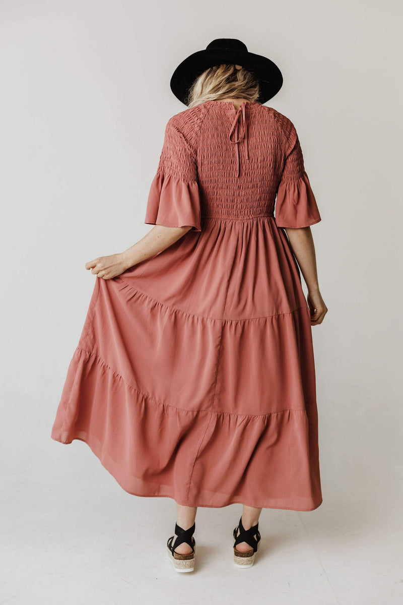 Dresses Brenda Smocked Bodice Tiered Maxi Dress Dusty Blush