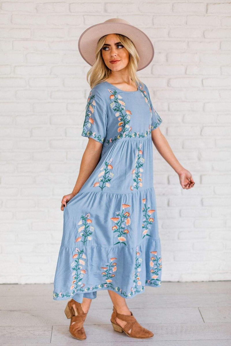 Dresses Callie Embroidered Dress Blue