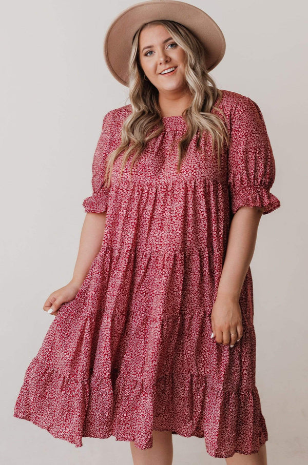 Dresses Carrie Tiered Dress Burgundy PLUS