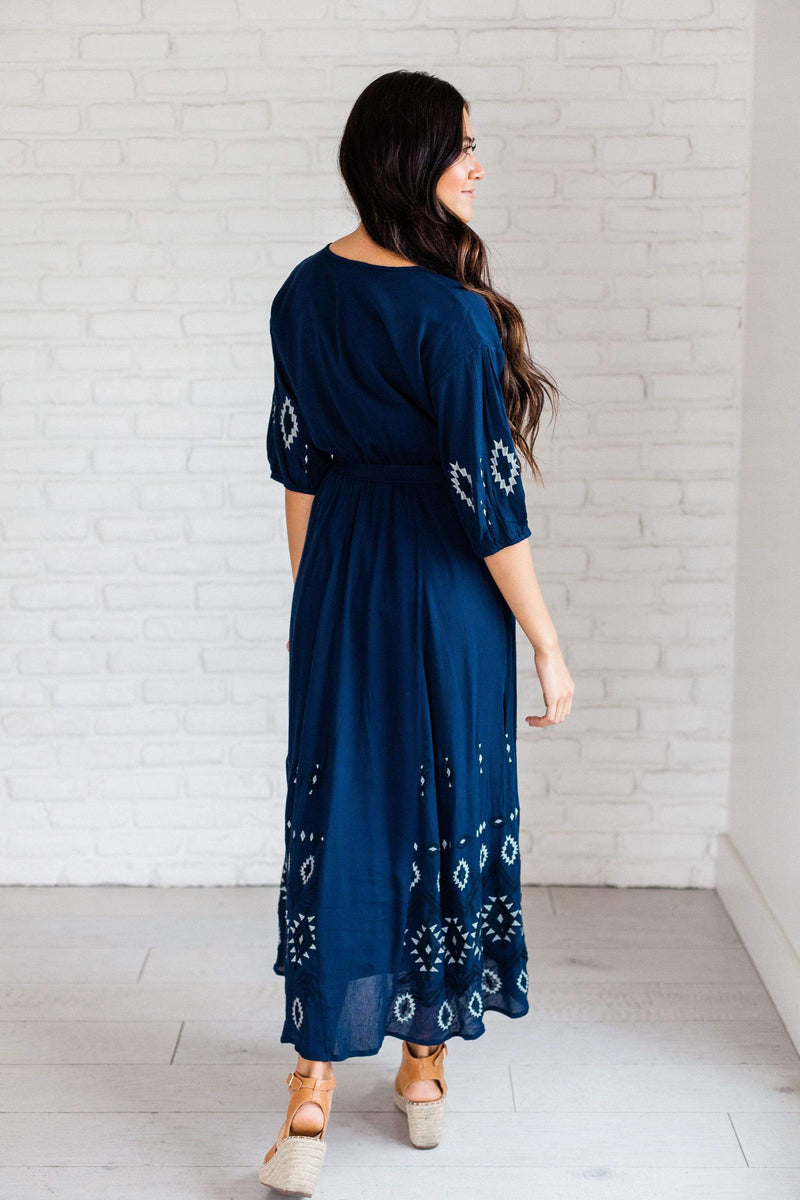 Dresses Charlie Embroidered Maxi Dress Navy