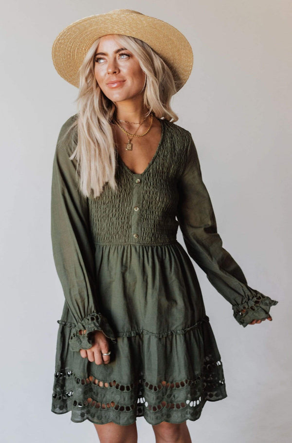 Dresses Claudia Smocked Eyelet Mini Dress Forest Green