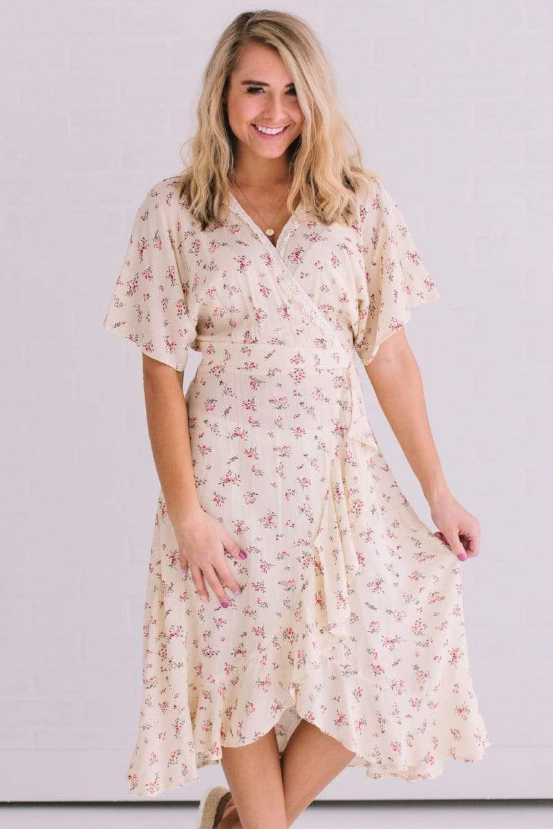 Dresses Cordella Floral Wrap Dress Cream
