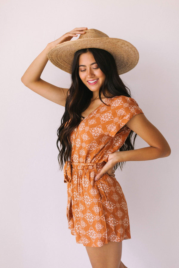 Dresses Danielle Button Front Romper Rust