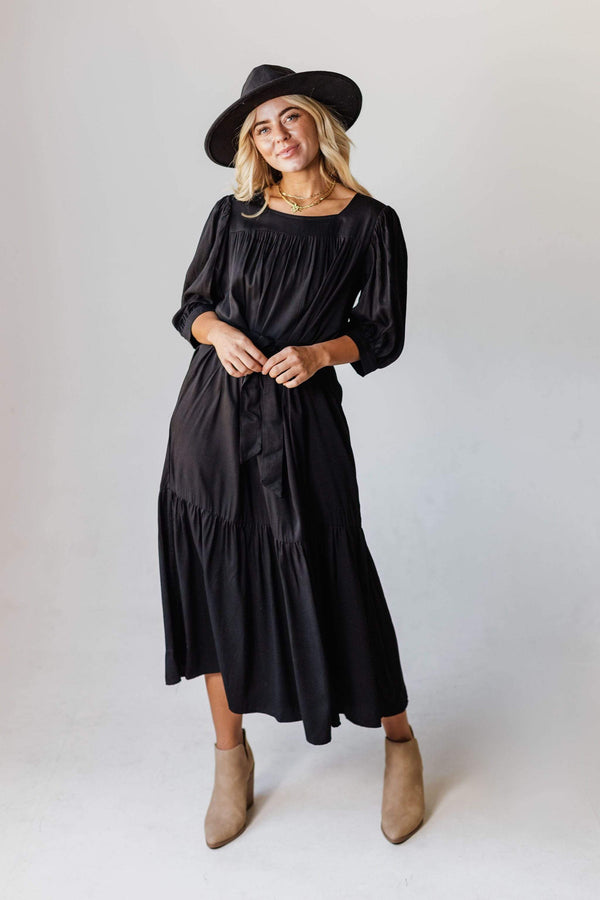 Dresses EXCLUSIVE! Ivy Square Neck Ruffle Dress Black