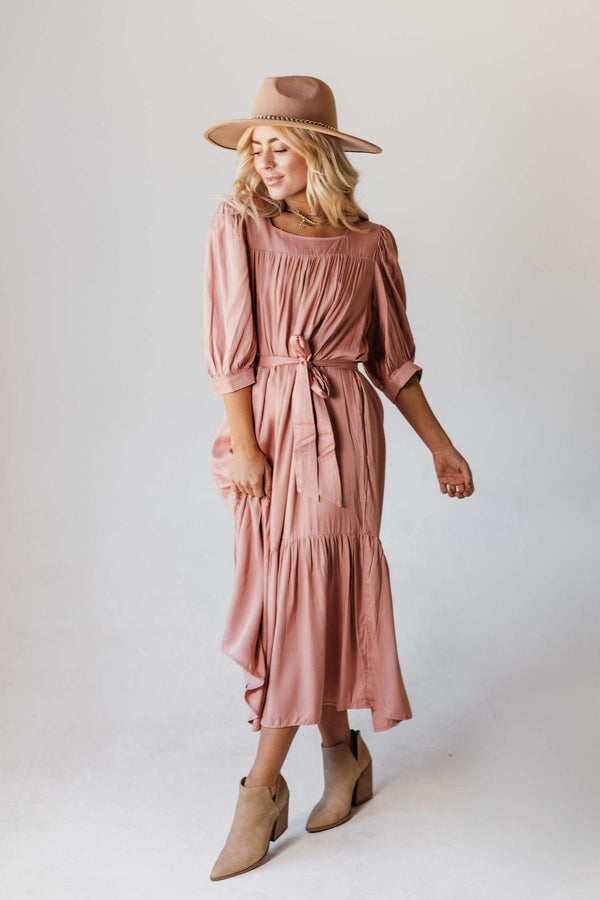 Dresses EXCLUSIVE! Ivy Square Neck Ruffle Dress Mauve