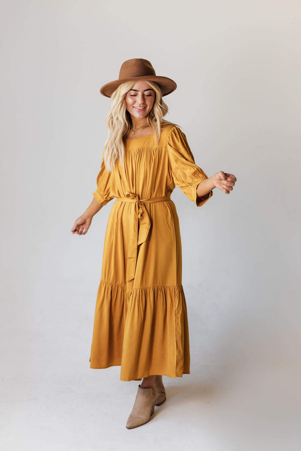 Dresses EXCLUSIVE! Ivy Square Neck Ruffle Dress Mustard