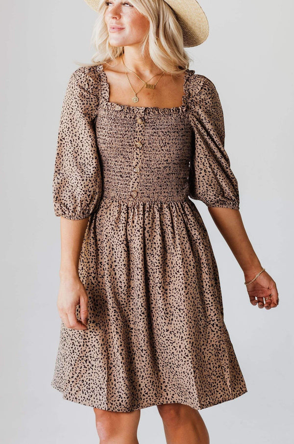 EXCLUSIVE! Julianna Leopard Smocked Dress Taupe