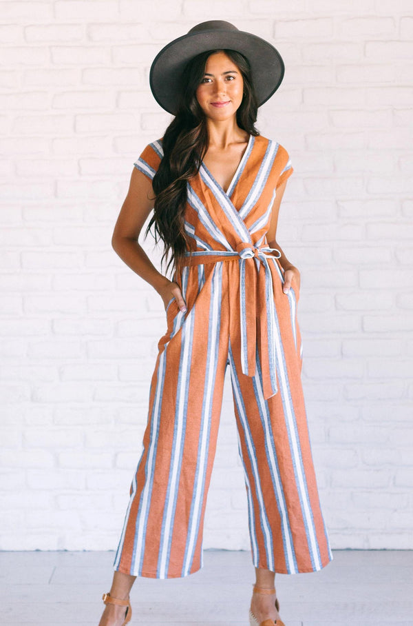 Dresses Felicia Striped Jumpsuit Rust