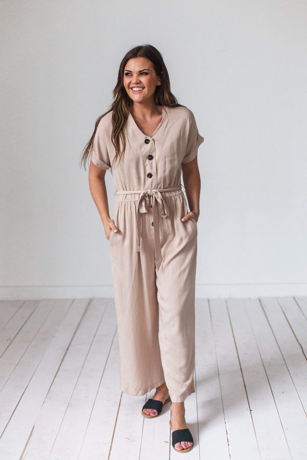 Dresses Henley Button Front Jumpsuit Oatmeal