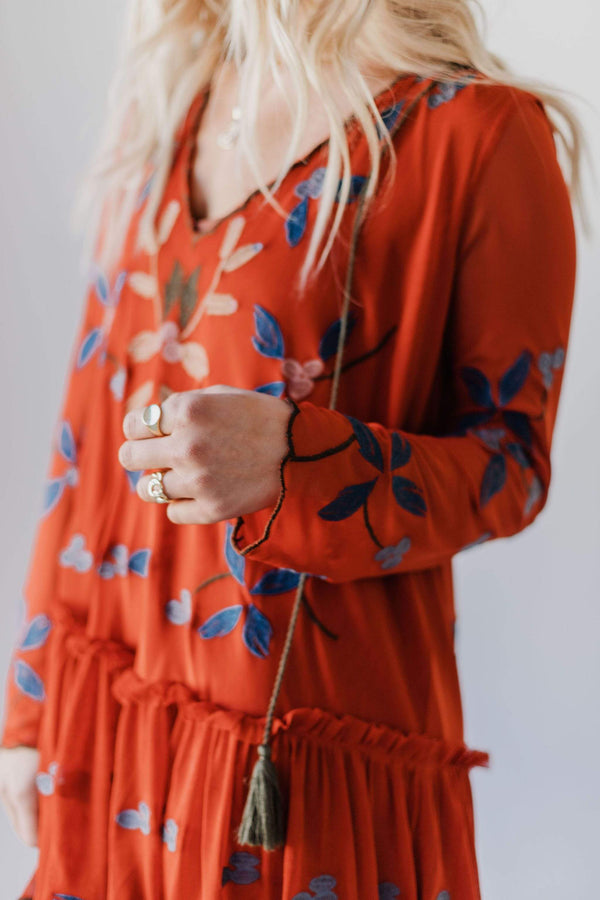 Dresses Joyce Embroidered Dress Burnt Orange