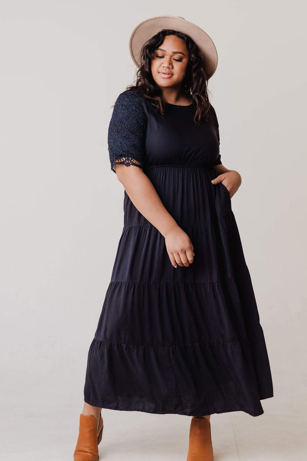 Dresses Juliana Eyelet Sleeve Dress Dark Navy PLUS