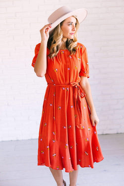 Dresses Kathryn Floral Dress Rust