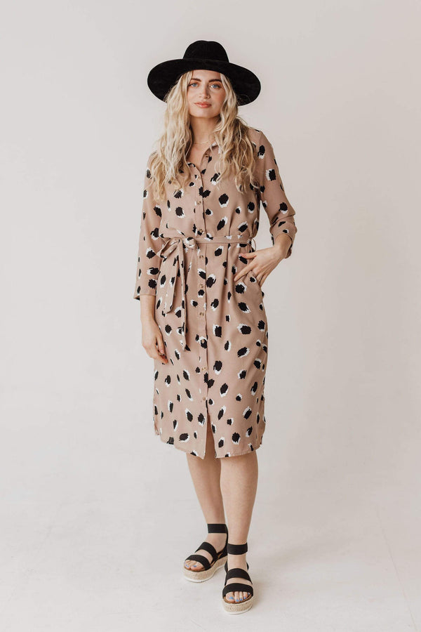 Dresses Kennz Leopard Print Dress Taupe