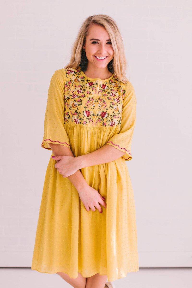 Dresses Magnolia Embroidered Dress Yellow