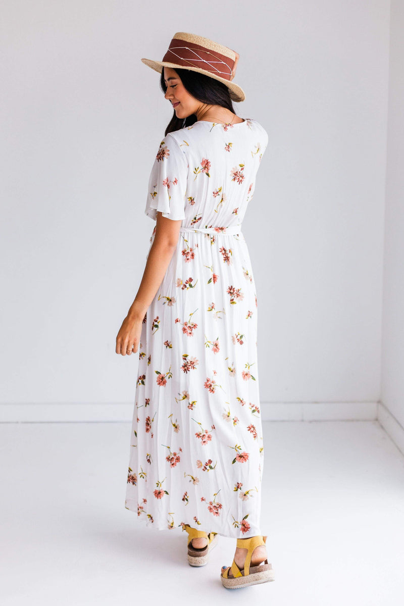 Dresses Olivia Floral Wrap Dress Ivory