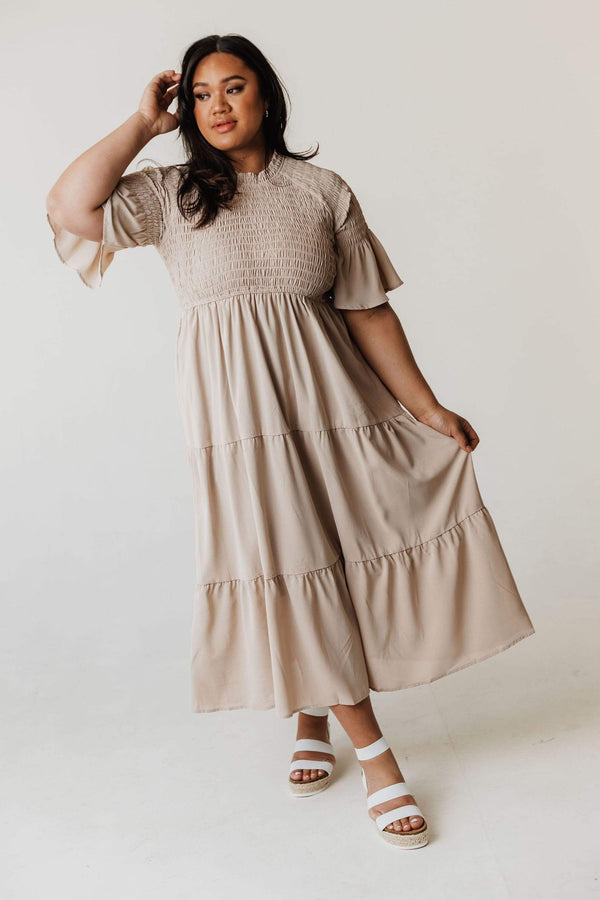 Dresses PLUS Brenda Smocked Bodice Tiered Maxi Dress Taupe