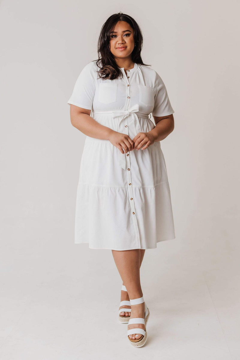 Dresses PLUS Louie Corduroy Tiered Dress Ivory