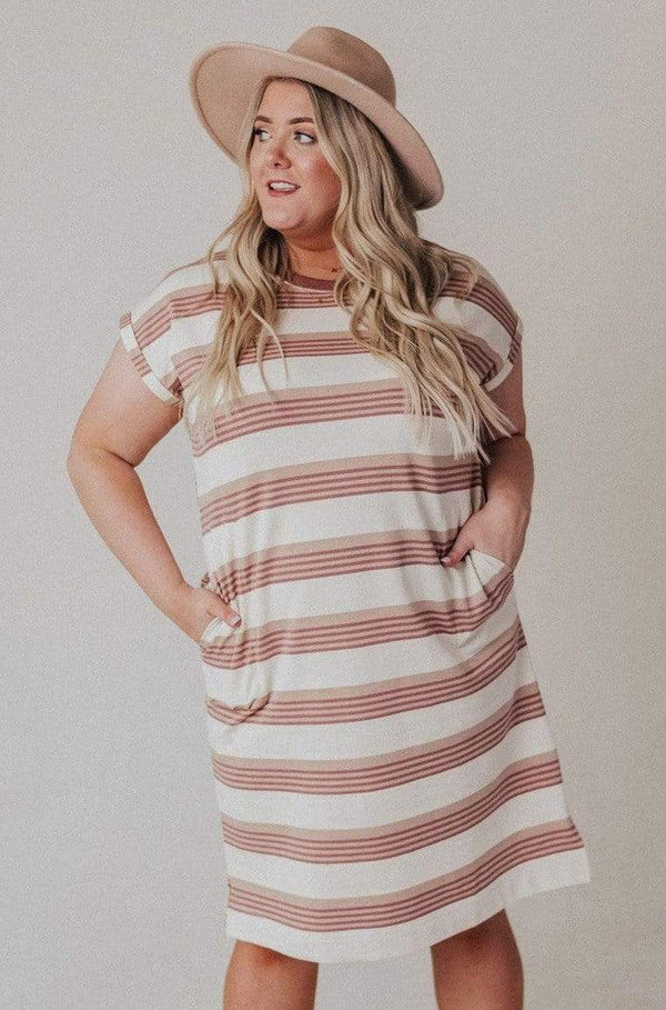 Dresses Plus Size Tammy Striped Muscle Tee Dress Cream