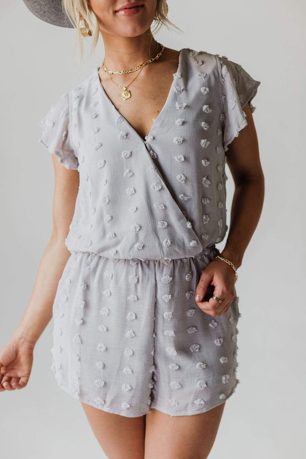 Dresses Reese Polka Dot Romper Grey