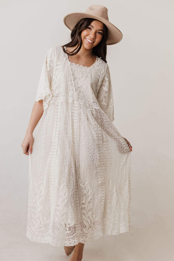 Dresses Reyna Sheer Embroidered Dress Oatmeal