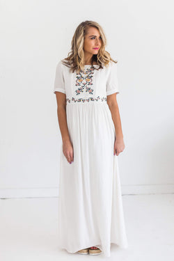 Dresses Savannah Embroidered Maxi Dress White