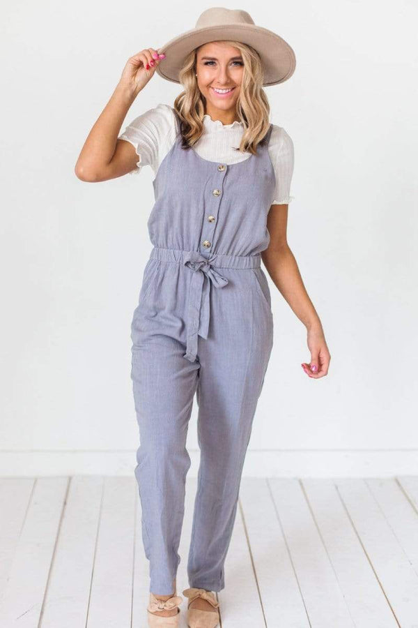 Dresses Sidney Button Detail Jumpsuit Grey