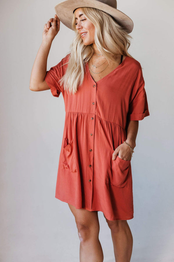 Dresses Tina Button Up Mini Dress Coral