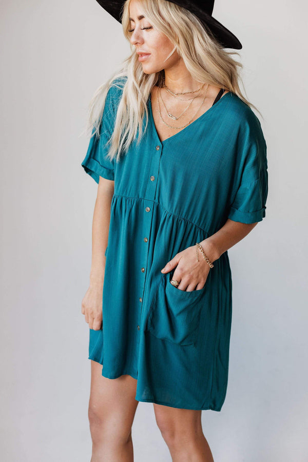 Dresses Tina Button Up Mini Dress Teal