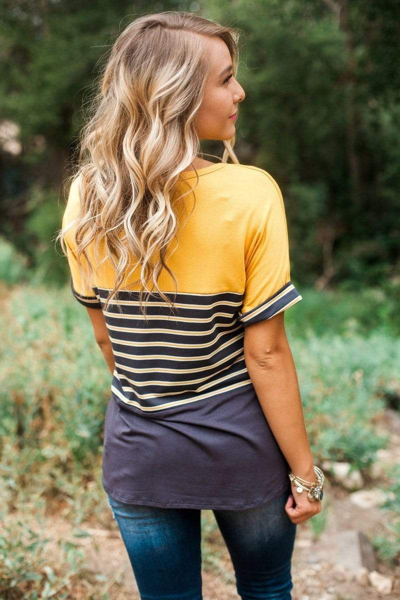 Elliot Striped Top Charcoal