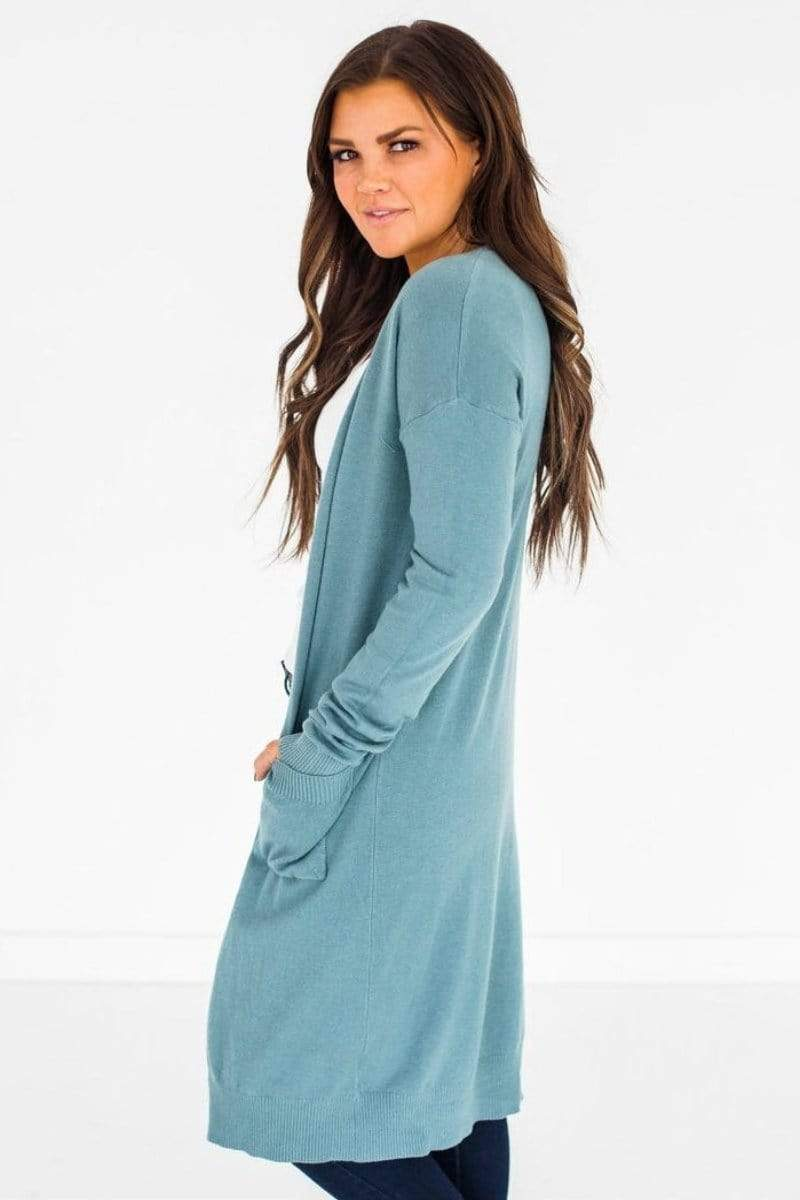 Haley Long Cardigan Teal Small