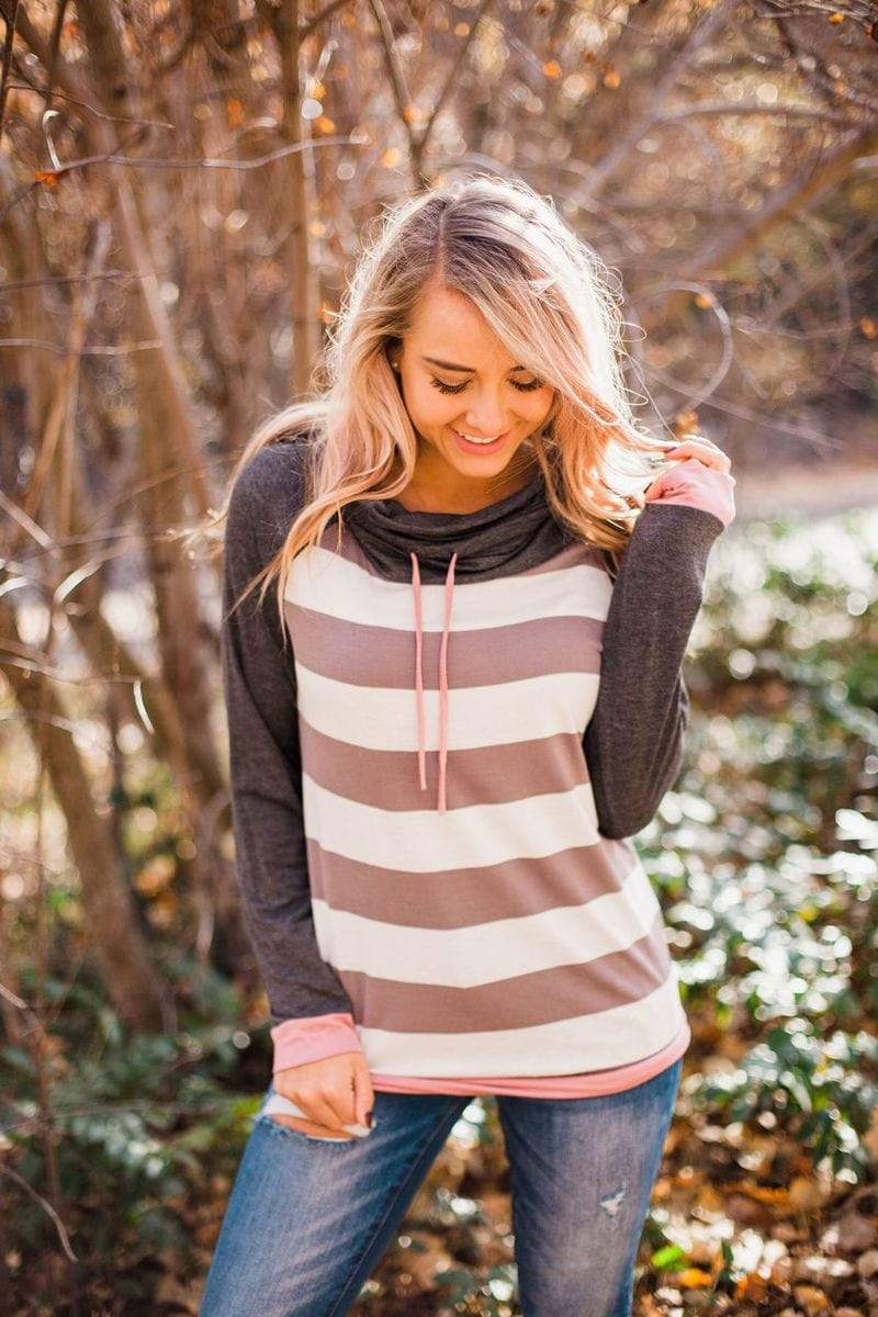 Hallie Striped Cowl Neck Top Charcoal