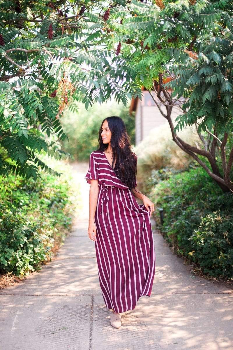 Harper Striped Maxi Dress Burgundy
