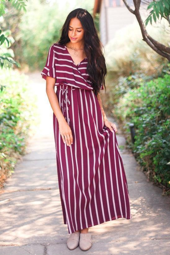 Harper Striped Maxi Dress Burgundy Small
