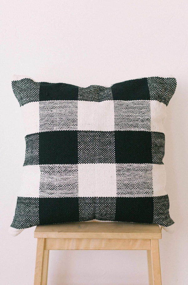 HOME Buffalo Plaid Pillow Cover Black