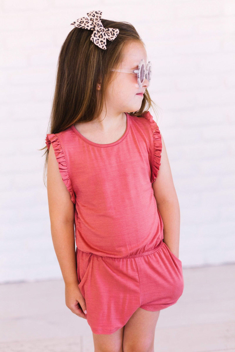 Kids Laurel Romper Marsala
