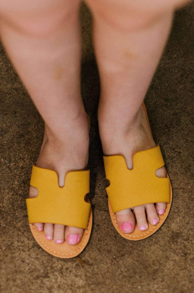 Kids Poppy Slip On Sandals Mustard
