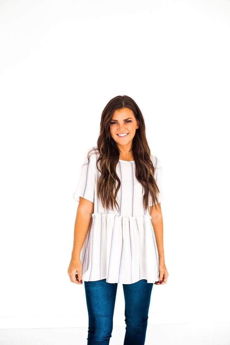 Lainey Striped Top Ivory