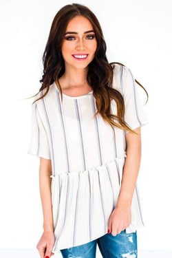 Lainey Striped Top Ivory Small